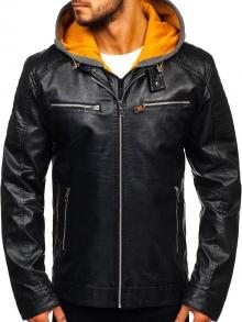 Мъжко кожено яке - Черно с Жълто