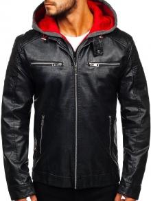 Мъжко кожено яке - Черно с Червено