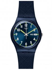 Swatch Originals Swiss-кварцов силиконов каишка, син, 19 ежедневен часовник