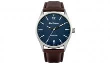 Ben Sheman Мъжки кожен часовник Кафява верижка син дисплей