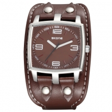 SKONE Водоустой Спортен часовник с PU диаметър с голям диаметър за мъже